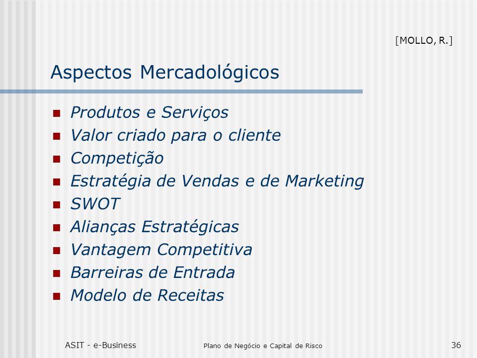 ASIT - e-Business Plano de Negócio e Capital de Risco 36 Aspectos Mercadológicos Produtos e Serviços Valor criado para o cliente Competição Estratégia