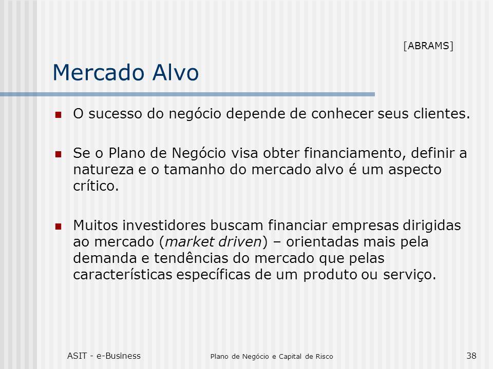 ASIT - e-Business Plano de Negócio e Capital de Risco 38 Mercado Alvo O sucesso do negócio depende de conhecer seus clientes. Se o Plano de Negócio vi