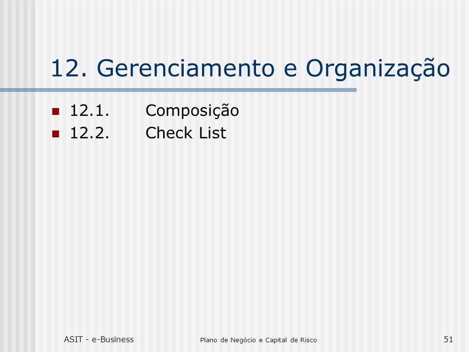 ASIT - e-Business Plano de Negócio e Capital de Risco 51 12.Gerenciamento e Organização 12.1.Composição 12.2.Check List