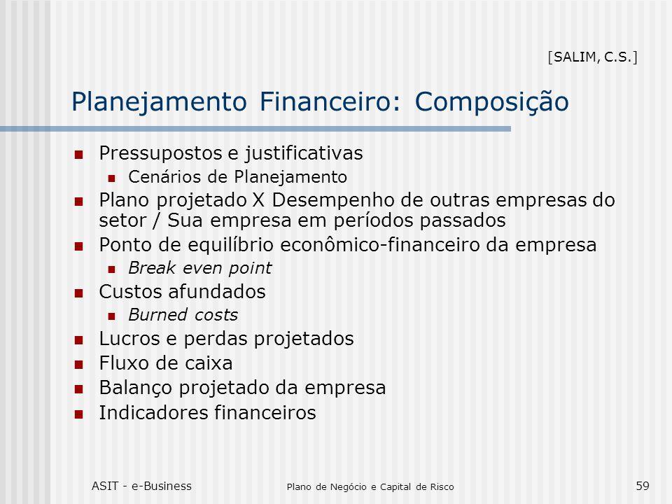 ASIT - e-Business Plano de Negócio e Capital de Risco 59 Planejamento Financeiro: Composição Pressupostos e justificativas Cenários de Planejamento Pl
