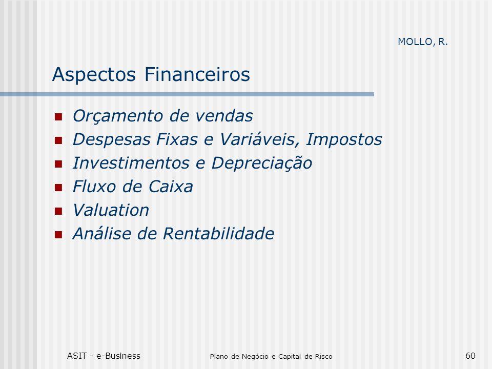 ASIT - e-Business Plano de Negócio e Capital de Risco 60 Aspectos Financeiros Orçamento de vendas Despesas Fixas e Variáveis, Impostos Investimentos e