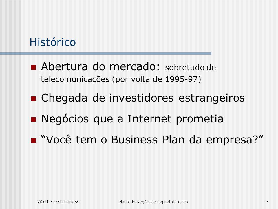 ASIT - e-Business Plano de Negócio e Capital de Risco 7 Histórico Abertura do mercado: sobretudo de telecomunicações (por volta de 1995-97) Chegada de