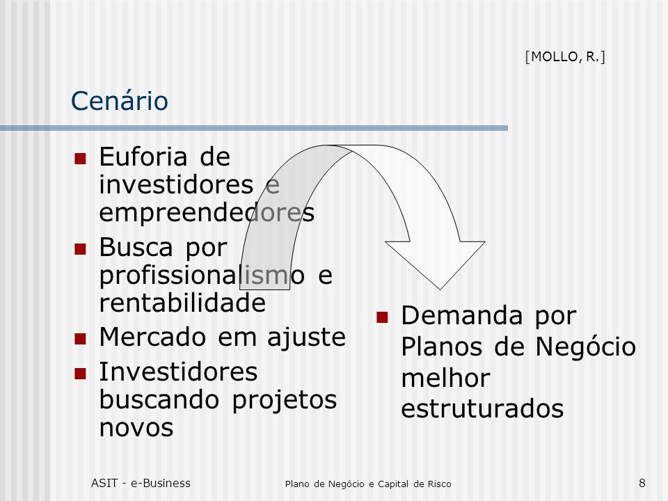 ASIT - e-Business Plano de Negócio e Capital de Risco 8 Cenário Euforia de investidores e empreendedores Busca por profissionalismo e rentabilidade Me