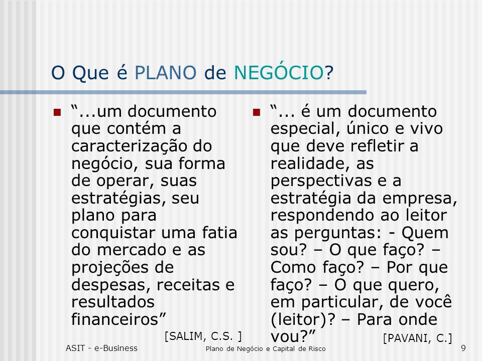 ASIT - e-Business Plano de Negócio e Capital de Risco 9 O Que é PLANO de NEGÓCIO?...um documento que contém a caracterização do negócio, sua forma de