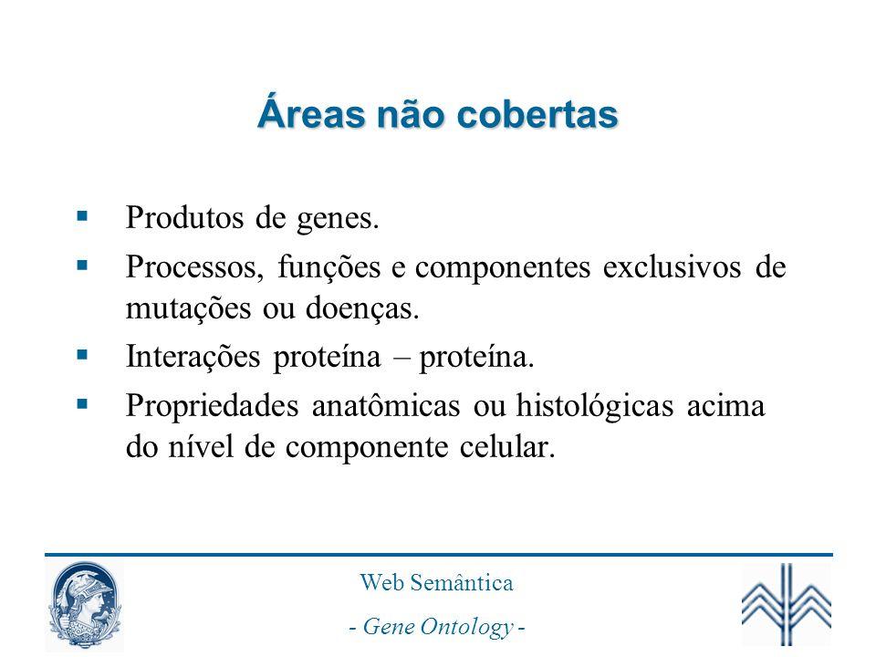 Web Semântica - Gene Ontology - Áreas não cobertas Produtos de genes.