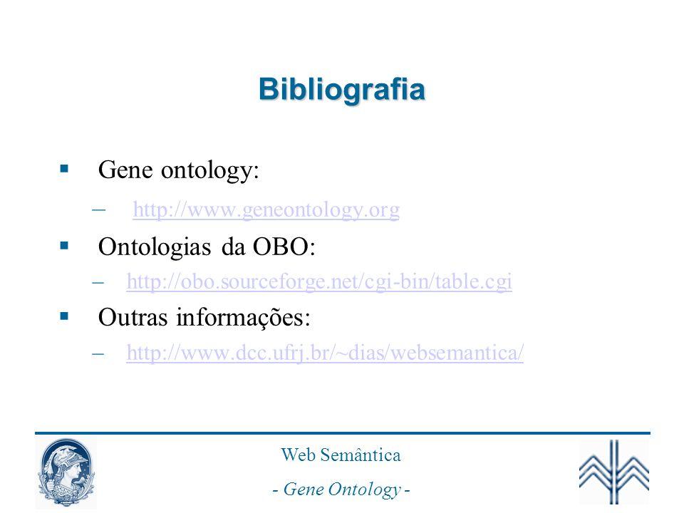 Web Semântica - Gene Ontology - Bibliografia Gene ontology: – http://www.geneontology.org http://www.geneontology.org Ontologias da OBO: –http://obo.sourceforge.net/cgi-bin/table.cgihttp://obo.sourceforge.net/cgi-bin/table.cgi Outras informações: –http://www.dcc.ufrj.br/~dias/websemantica/http://www.dcc.ufrj.br/~dias/websemantica/