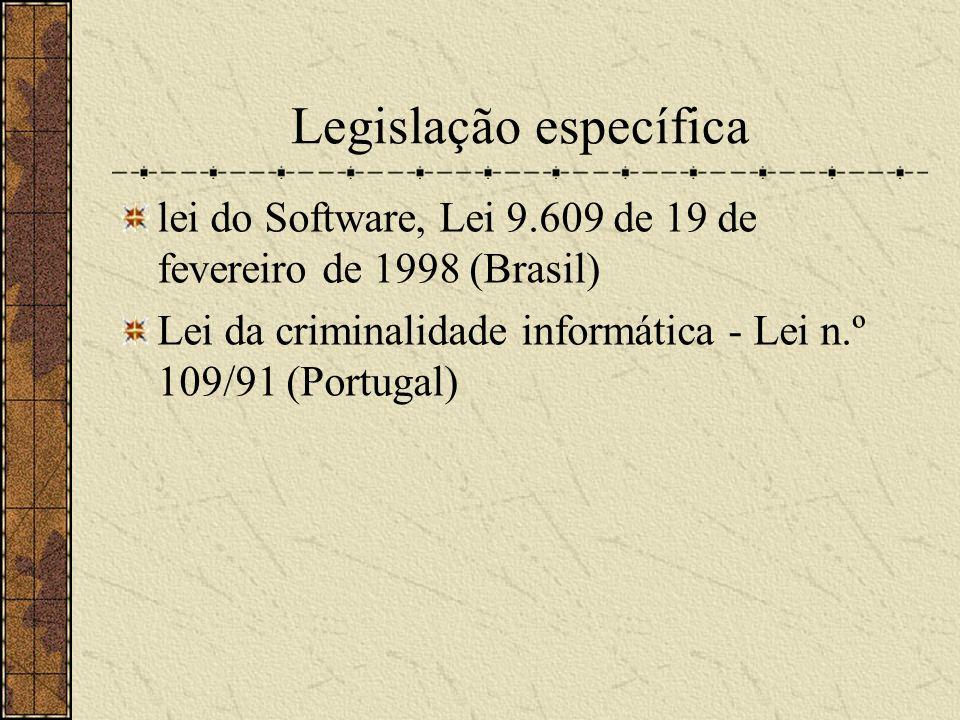 Legislação específica lei do Software, Lei 9.609 de 19 de fevereiro de 1998 (Brasil) Lei da criminalidade informática - Lei n.º 109/91 (Portugal)