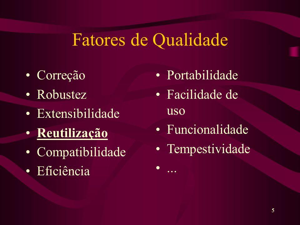 6 Tradeoffs Desejável `Comum` Funcionalidade Outros Fatores Osmond, 1995 Depuração