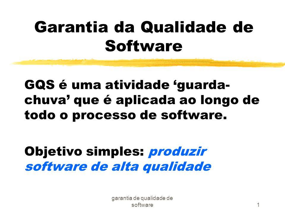 garantia de qualidade de software1 Garantia da Qualidade de Software GQS é uma atividade guarda- chuva que é aplicada ao longo de todo o processo de s