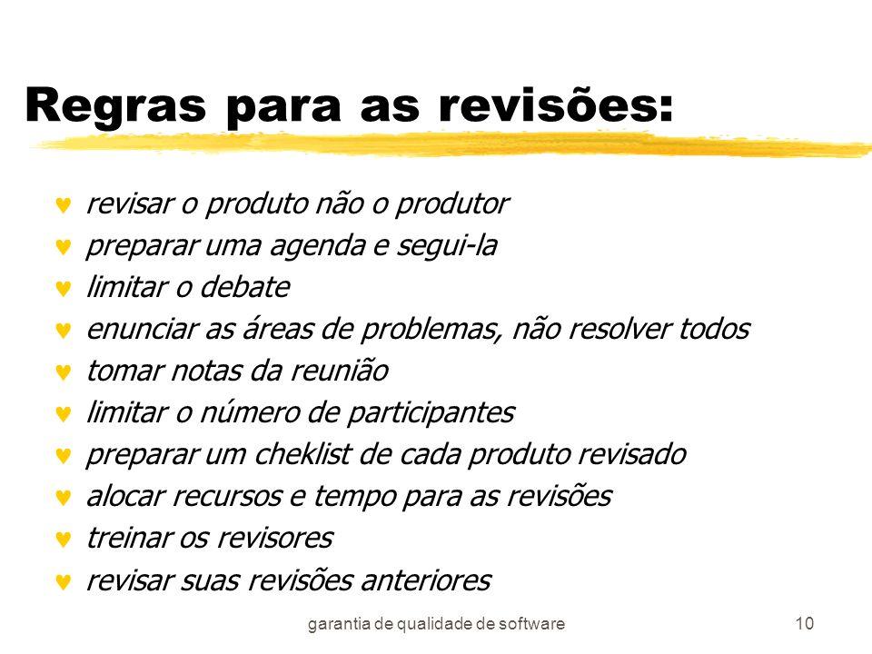garantia de qualidade de software10 Regras para as revisões: revisar o produto não o produtor preparar uma agenda e segui-la limitar o debate enunciar