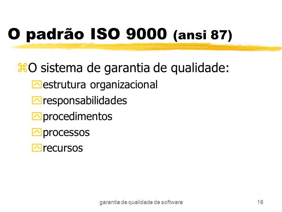 garantia de qualidade de software16 O padrão ISO 9000 (ansi 87) zO sistema de garantia de qualidade: yestrutura organizacional yresponsabilidades ypro