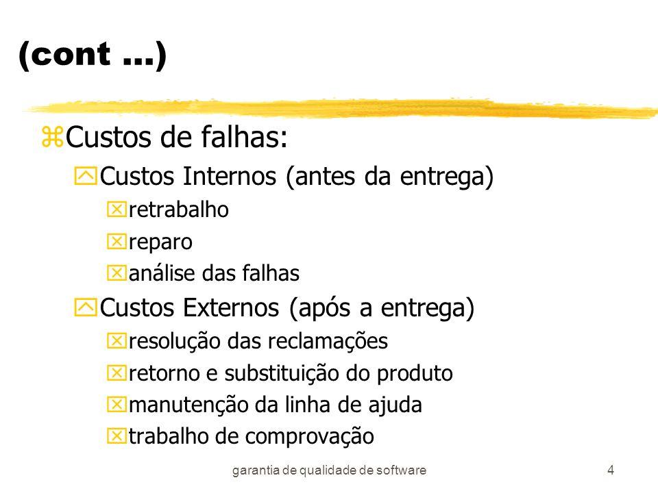 garantia de qualidade de software4 (cont...) zCustos de falhas: yCustos Internos (antes da entrega) xretrabalho xreparo xanálise das falhas yCustos Ex