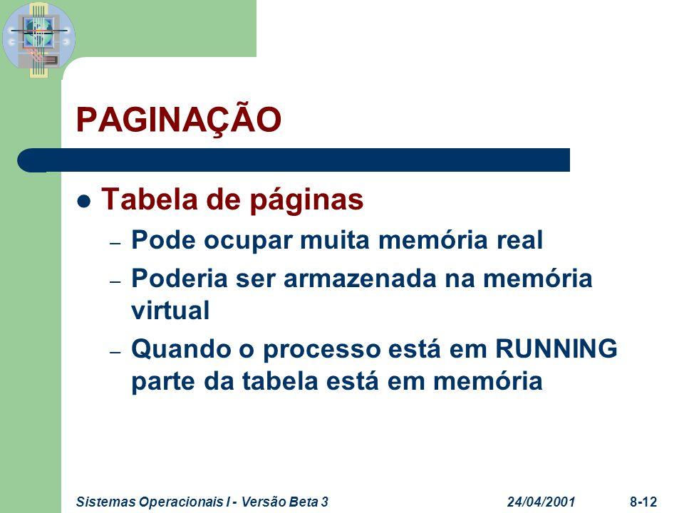 24/04/2001Sistemas Operacionais I - Versão Beta 38-12 PAGINAÇÃO Tabela de páginas – Pode ocupar muita memória real – Poderia ser armazenada na memória