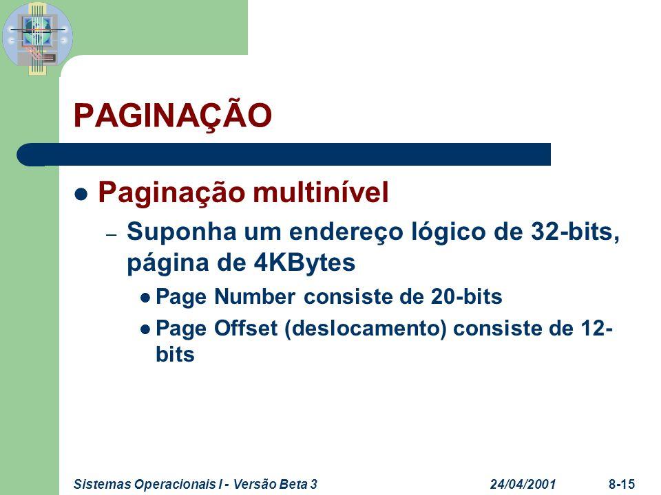 24/04/2001Sistemas Operacionais I - Versão Beta 38-15 PAGINAÇÃO Paginação multinível – Suponha um endereço lógico de 32-bits, página de 4KBytes Page N