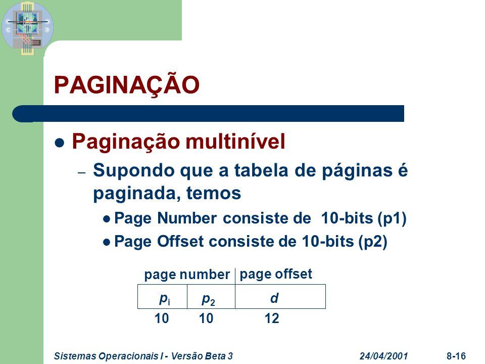 24/04/2001Sistemas Operacionais I - Versão Beta 38-16 PAGINAÇÃO Paginação multinível – Supondo que a tabela de páginas é paginada, temos Page Number c