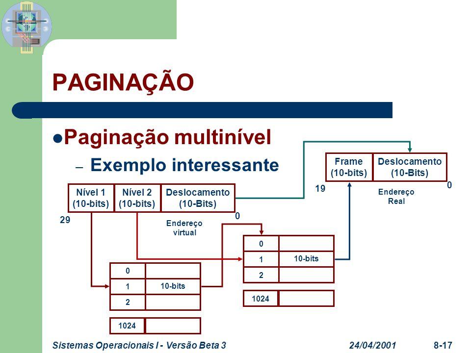 24/04/2001Sistemas Operacionais I - Versão Beta 38-17 PAGINAÇÃO Paginação multinível – Exemplo interessante 0 1 2 1024 10-bits Deslocamento (10-Bits)