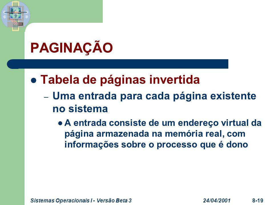 24/04/2001Sistemas Operacionais I - Versão Beta 38-19 PAGINAÇÃO Tabela de páginas invertida – Uma entrada para cada página existente no sistema A entr