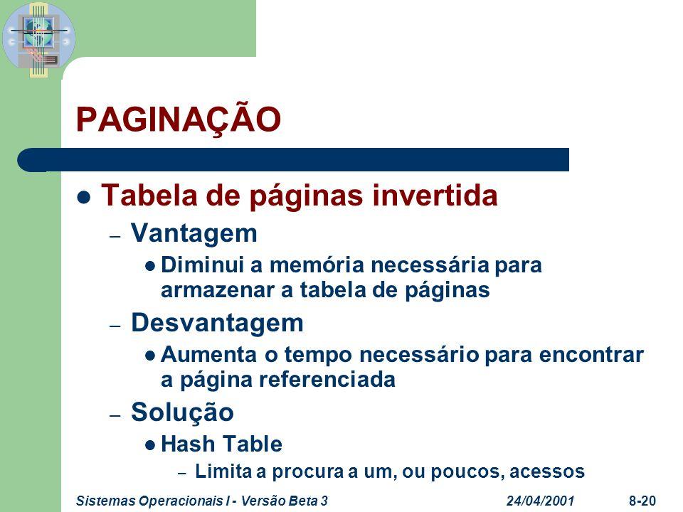 24/04/2001Sistemas Operacionais I - Versão Beta 38-20 PAGINAÇÃO Tabela de páginas invertida – Vantagem Diminui a memória necessária para armazenar a t