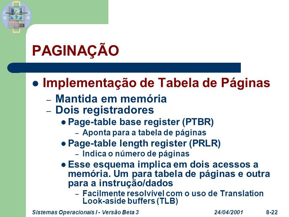24/04/2001Sistemas Operacionais I - Versão Beta 38-22 PAGINAÇÃO Implementação de Tabela de Páginas – Mantida em memória – Dois registradores Page-tabl