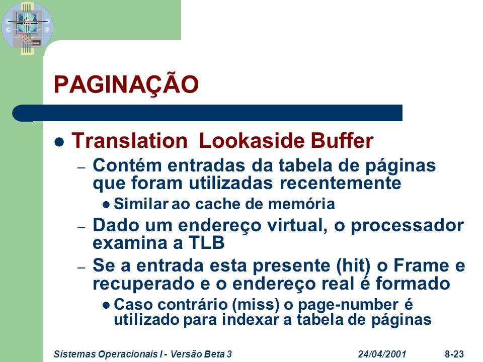 24/04/2001Sistemas Operacionais I - Versão Beta 38-23 PAGINAÇÃO Translation Lookaside Buffer – Contém entradas da tabela de páginas que foram utilizad