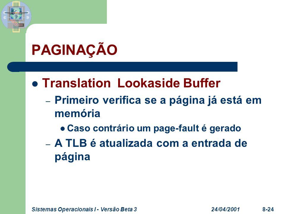 24/04/2001Sistemas Operacionais I - Versão Beta 38-24 PAGINAÇÃO Translation Lookaside Buffer – Primeiro verifica se a página já está em memória Caso c