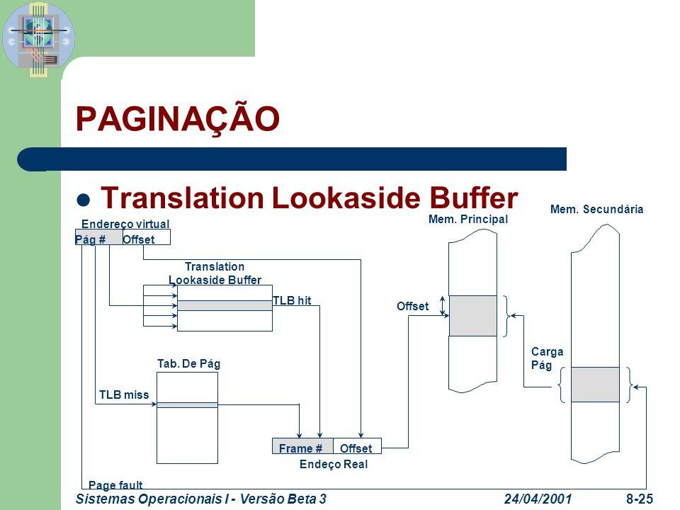 24/04/2001Sistemas Operacionais I - Versão Beta 38-25 PAGINAÇÃO Translation Lookaside Buffer Endereço virtual Translation Lookaside Buffer Tab. De Pág
