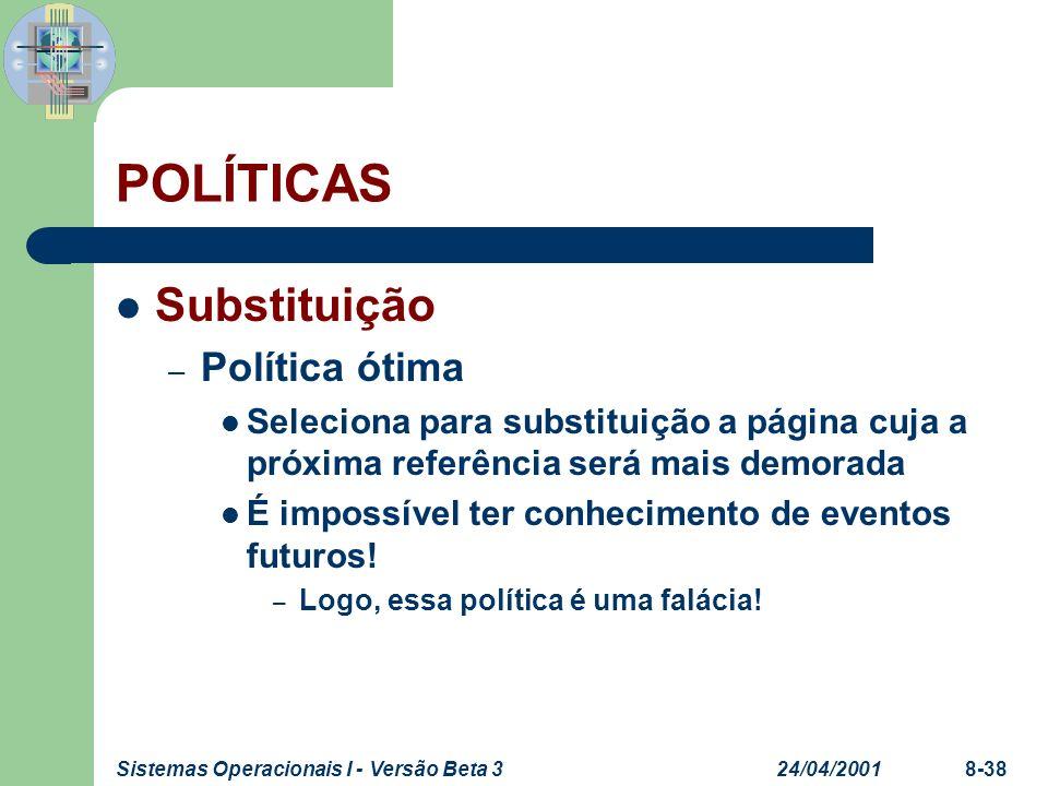 24/04/2001Sistemas Operacionais I - Versão Beta 38-38 POLÍTICAS Substituição – Política ótima Seleciona para substituição a página cuja a próxima refe