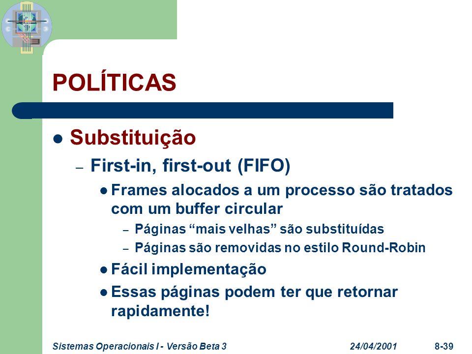 24/04/2001Sistemas Operacionais I - Versão Beta 38-39 POLÍTICAS Substituição – First-in, first-out (FIFO) Frames alocados a um processo são tratados c