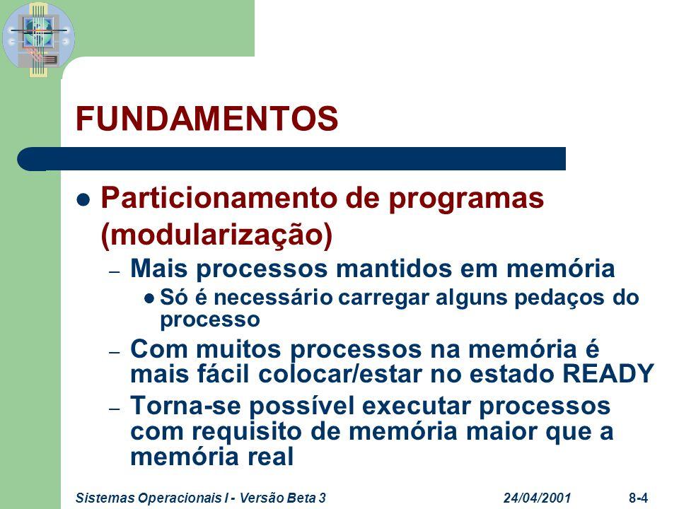 24/04/2001Sistemas Operacionais I - Versão Beta 38-4 FUNDAMENTOS Particionamento de programas (modularização) – Mais processos mantidos em memória Só