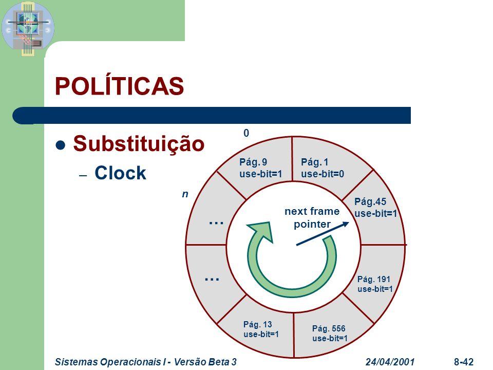 24/04/2001Sistemas Operacionais I - Versão Beta 38-42 POLÍTICAS Substituição – Clock 0 n Pág. 9 use-bit=1 Pág. 1 use-bit=0 Pág.45 use-bit=1 Pág. 191 u