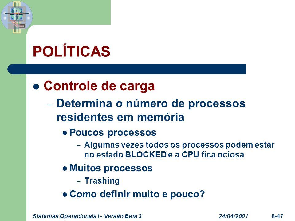 24/04/2001Sistemas Operacionais I - Versão Beta 38-47 POLÍTICAS Controle de carga – Determina o número de processos residentes em memória Poucos proce