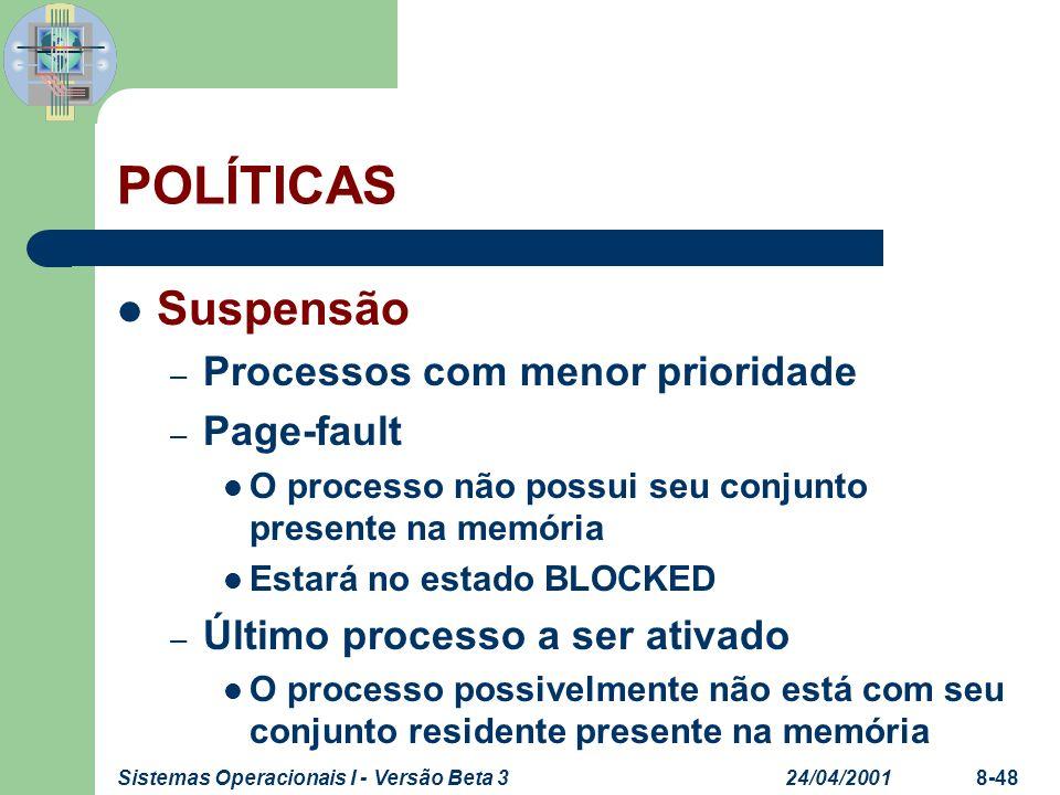 24/04/2001Sistemas Operacionais I - Versão Beta 38-48 POLÍTICAS Suspensão – Processos com menor prioridade – Page-fault O processo não possui seu conj