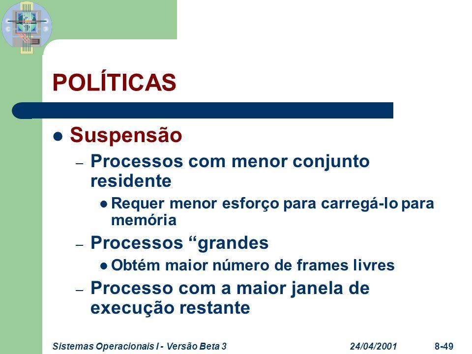 24/04/2001Sistemas Operacionais I - Versão Beta 38-49 POLÍTICAS Suspensão – Processos com menor conjunto residente Requer menor esforço para carregá-l