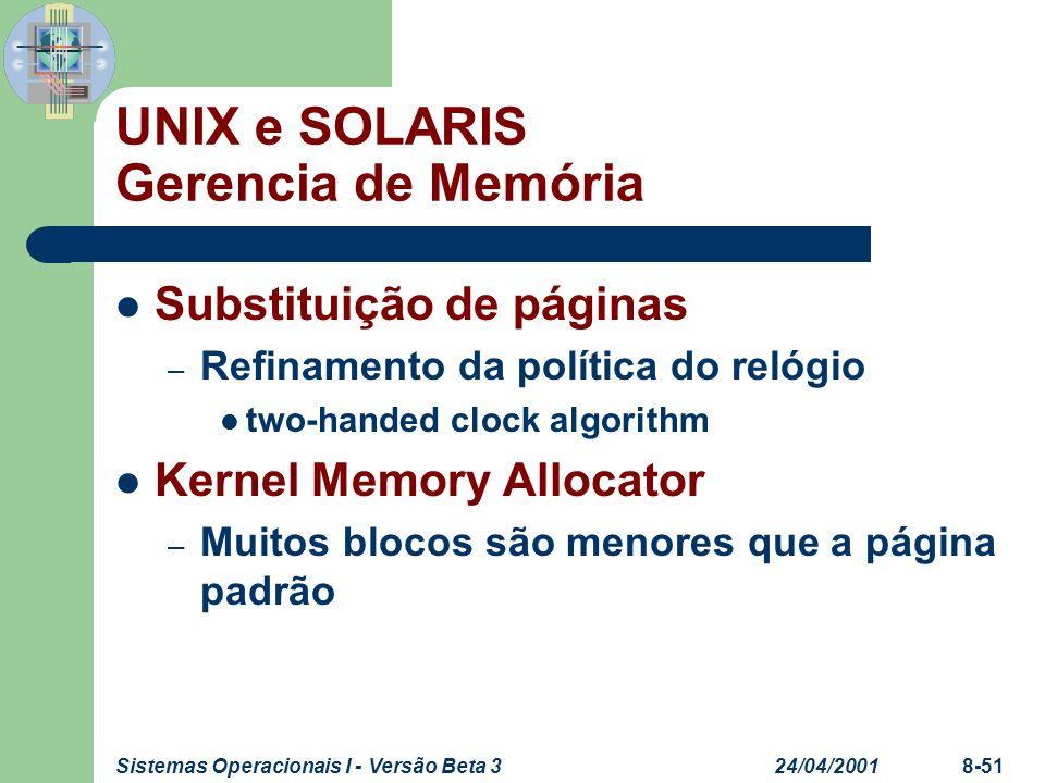 24/04/2001Sistemas Operacionais I - Versão Beta 38-51 UNIX e SOLARIS Gerencia de Memória Substituição de páginas – Refinamento da política do relógio