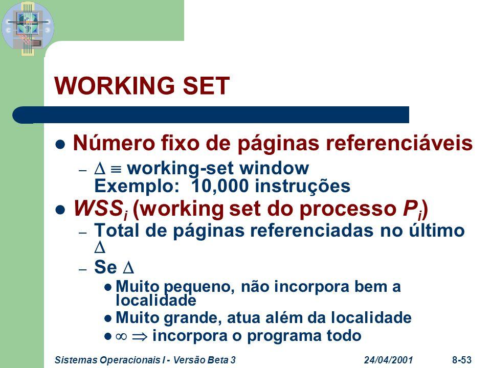 24/04/2001Sistemas Operacionais I - Versão Beta 38-53 WORKING SET Número fixo de páginas referenciáveis – working-set window Exemplo: 10,000 instruçõe