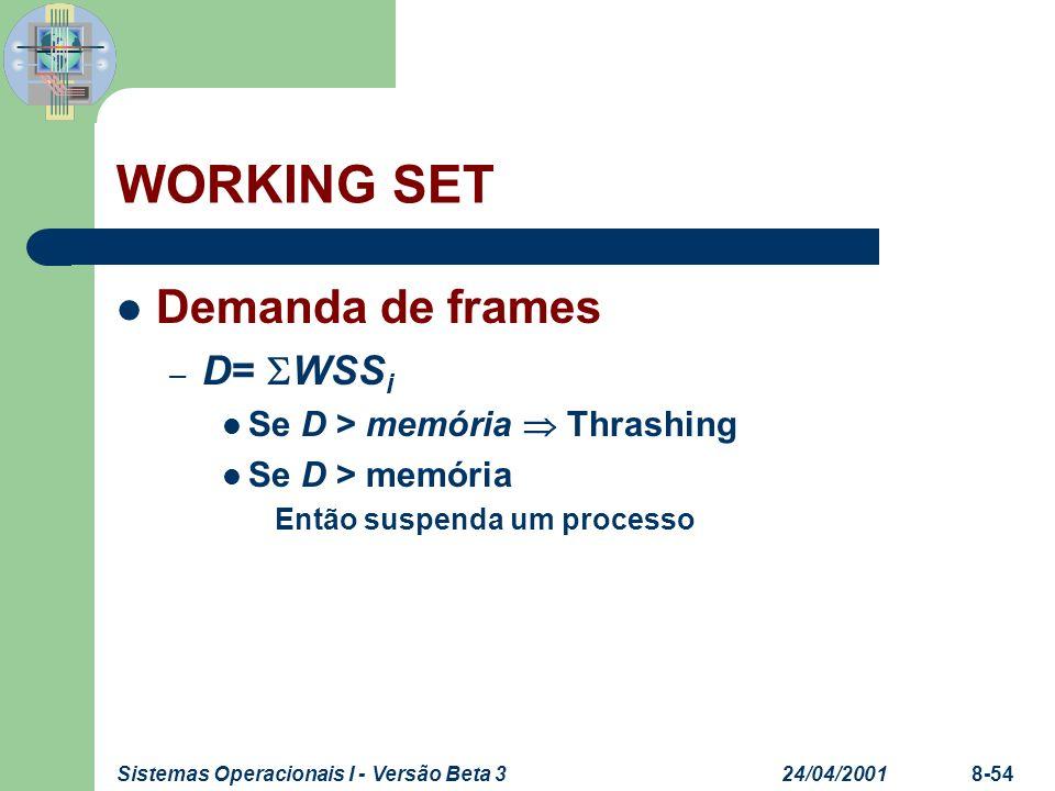 24/04/2001Sistemas Operacionais I - Versão Beta 38-54 WORKING SET Demanda de frames – D= WSS i Se D > memória Thrashing Se D > memória Então suspenda