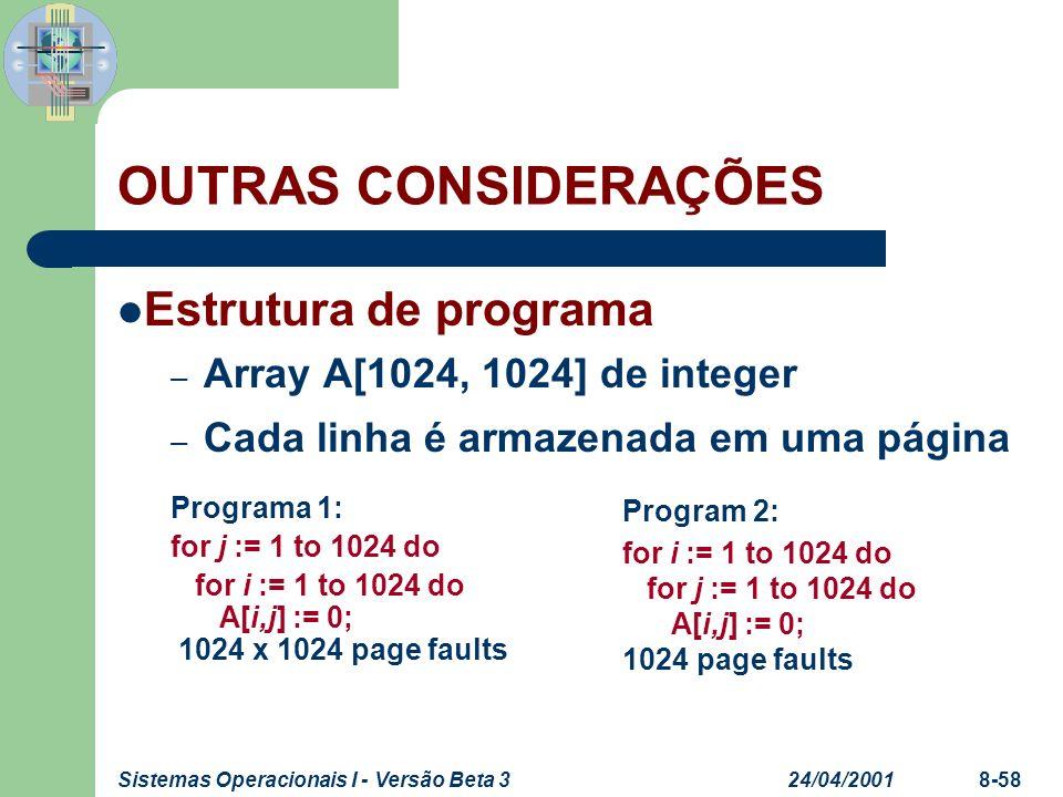 24/04/2001Sistemas Operacionais I - Versão Beta 38-58 OUTRAS CONSIDERAÇÕES Estrutura de programa – Array A[1024, 1024] de integer – Cada linha é armaz
