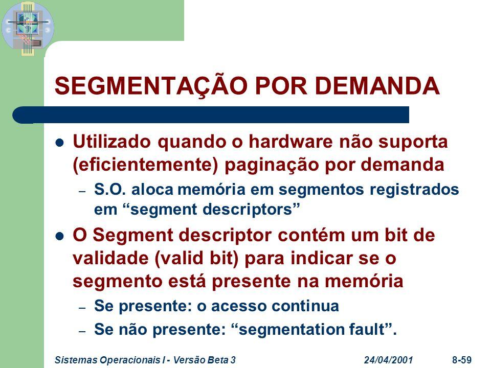 24/04/2001Sistemas Operacionais I - Versão Beta 38-59 SEGMENTAÇÃO POR DEMANDA Utilizado quando o hardware não suporta (eficientemente) paginação por d