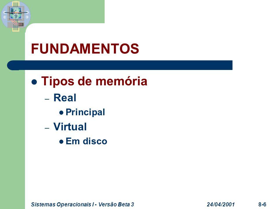 24/04/2001Sistemas Operacionais I - Versão Beta 38-6 FUNDAMENTOS Tipos de memória – Real Principal – Virtual Em disco