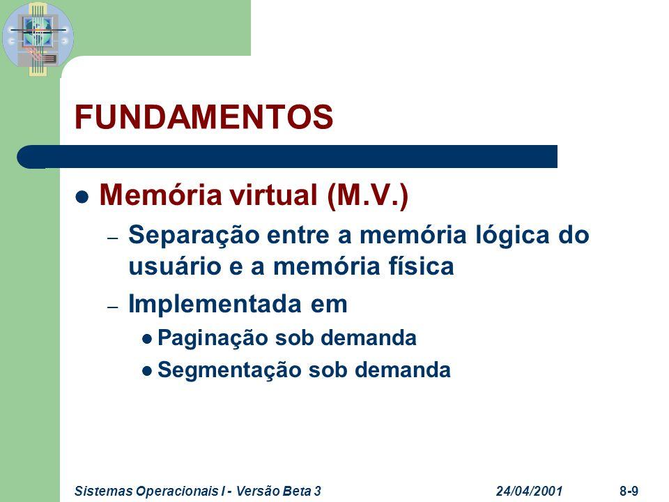24/04/2001Sistemas Operacionais I - Versão Beta 38-9 FUNDAMENTOS Memória virtual (M.V.) – Separação entre a memória lógica do usuário e a memória físi