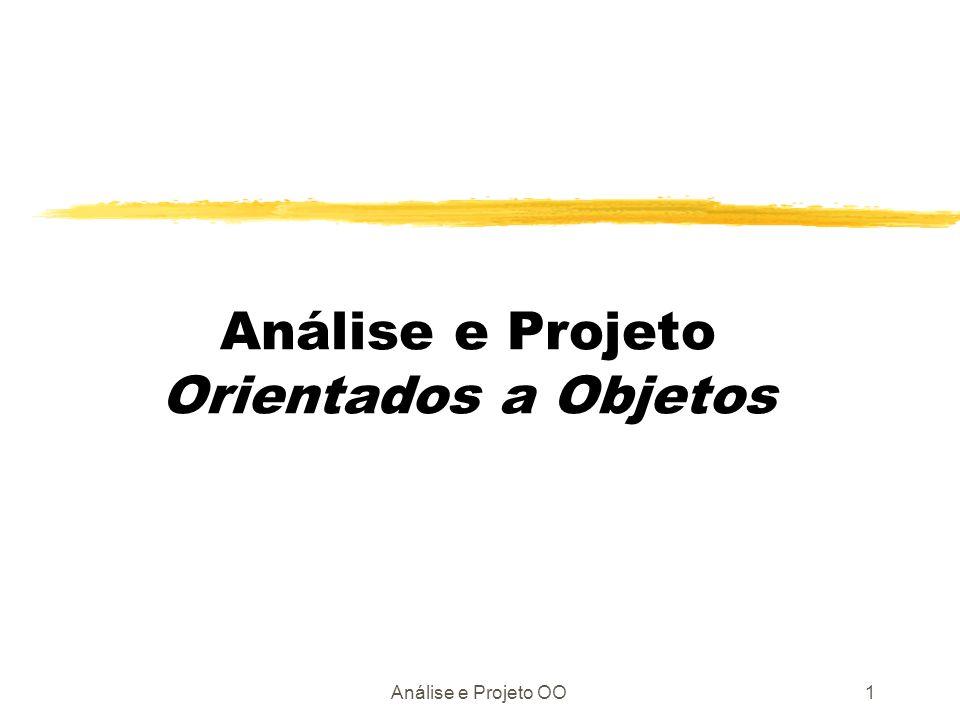Análise e Projeto OO2 Análise Orientada a Objetos É baseada nos princípios que aprendemos no jardim de infância: objetos e atributos; classes e membros; todo e partes.