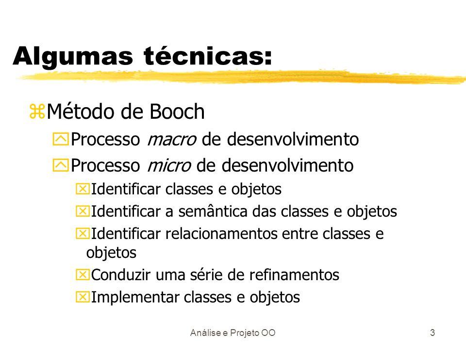 Análise e Projeto OO3 Algumas técnicas: zMétodo de Booch yProcesso macro de desenvolvimento yProcesso micro de desenvolvimento xIdentificar classes e