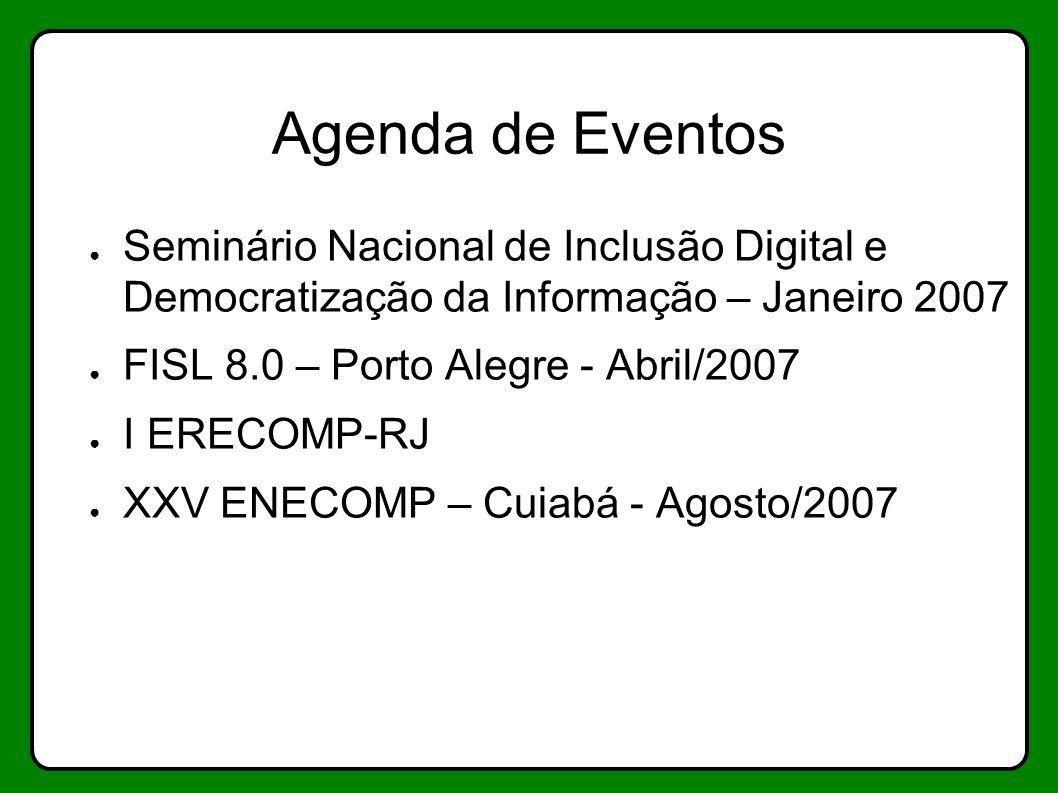 Agenda de Eventos Seminário Nacional de Inclusão Digital e Democratização da Informação – Janeiro 2007 FISL 8.0 – Porto Alegre - Abril/2007 I ERECOMP-