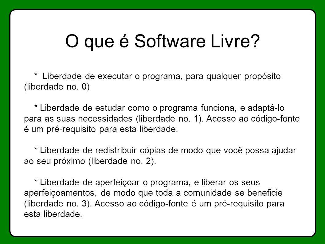 O que é Software Livre? * Liberdade de executar o programa, para qualquer propósito (liberdade no. 0) * Liberdade de estudar como o programa funciona,