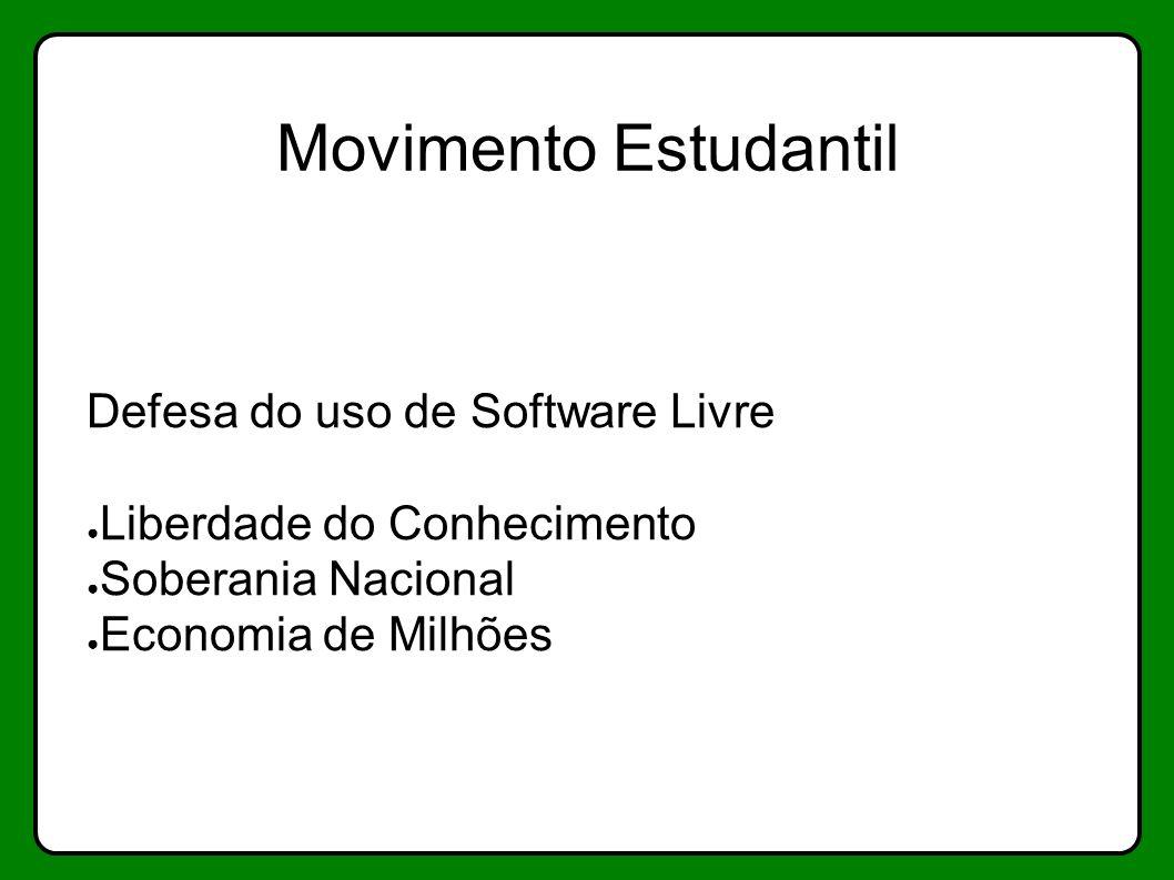 Movimento Estudantil Defesa do uso de Software Livre Liberdade do Conhecimento Soberania Nacional Economia de Milhões