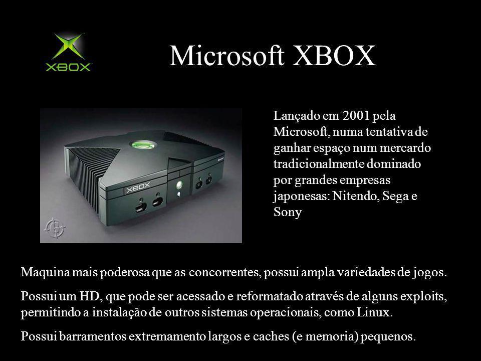 Microsoft XBOX Lançado em 2001 pela Microsoft, numa tentativa de ganhar espaço num mercardo tradicionalmente dominado por grandes empresas japonesas: Nitendo, Sega e Sony Maquina mais poderosa que as concorrentes, possui ampla variedades de jogos.