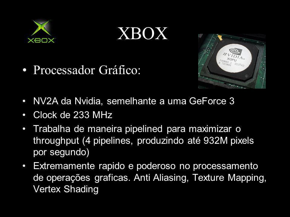 XBOX Processador Gráfico: NV2A da Nvidia, semelhante a uma GeForce 3 Clock de 233 MHz Trabalha de maneira pipelined para maximizar o throughput (4 pipelines, produzindo até 932M pixels por segundo) Extremamente rapido e poderoso no processamento de operações graficas.