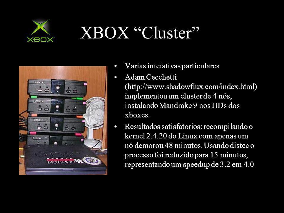 XBOX Cluster Varias iniciativas particulares Adam Cecchetti (http://www.shadowflux.com/index.html) implementou um cluster de 4 nós, instalando Mandrake 9 nos HDs dos xboxes.