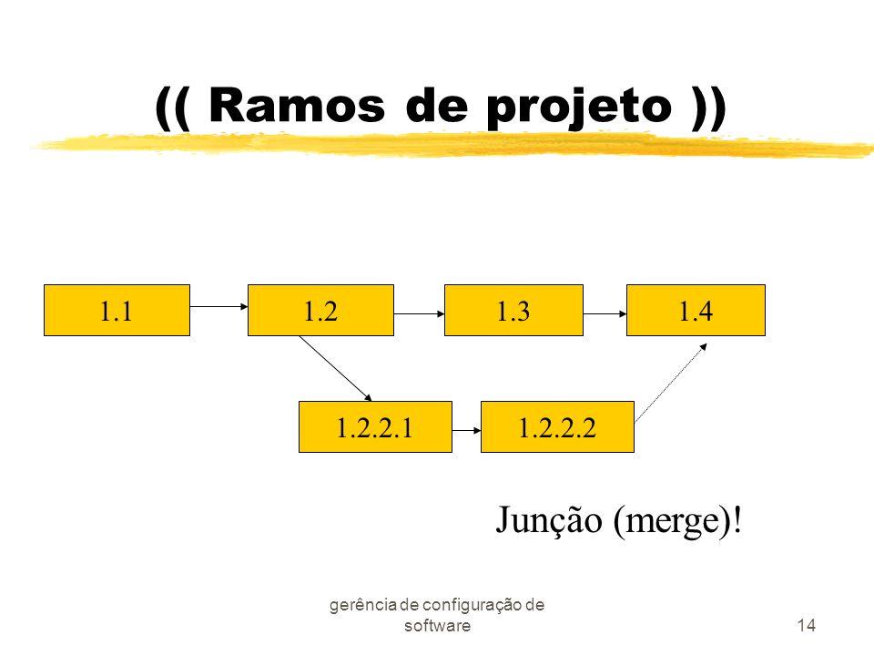 gerência de configuração de software14 (( Ramos de projeto )) 1.21.31.4 1.2.2.21.2.2.1 1.1 Junção (merge)!