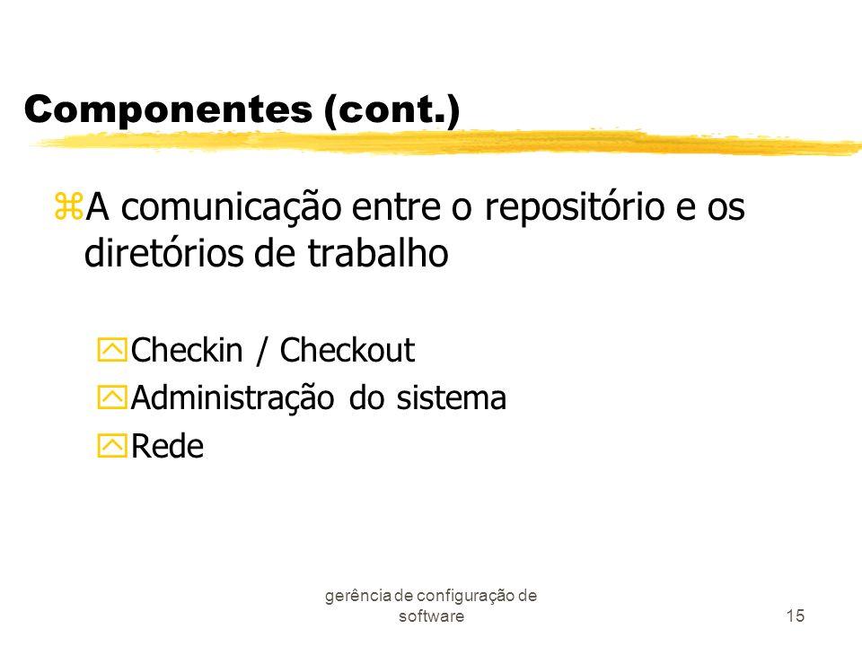 gerência de configuração de software15 Componentes (cont.) zA comunicação entre o repositório e os diretórios de trabalho yCheckin / Checkout yAdminis